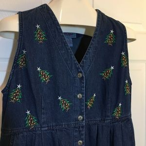Jane Ashley Embroidered Denim Dress  PM